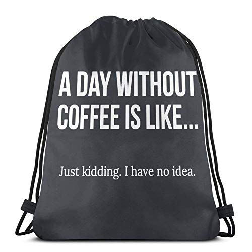Lmtt Mochila con cordón Bolsa de viaje Mochila deportiva para gimnasio Al día sin café