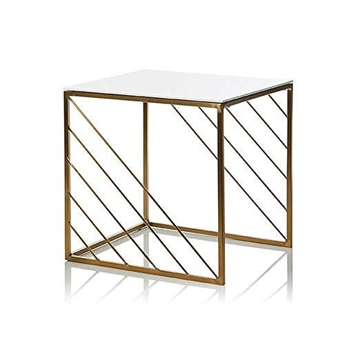 N/Z Wohngeräte 2er-Set Innen Innen Außen Dekorative Verschachtelung Seitenende Quadrat Metall Eisenhalterung Couchtisch Nachttische Gold Set