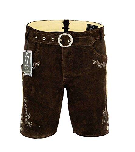 Shamzee klederdracht lederen broek kort inclusief riem van echt leer in bruin kleur maat 46-62