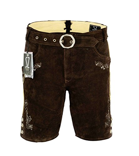 Shamzee Trachten Lederhose Kurz inklusive Gürtel aus Echtleder in braun Farbe größe 46-62 (50, Braun)