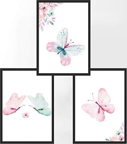 Kinderposter 3er-Set | 3X DIN A3 Poster | Jungen & Mädchen | Kunstdruck fürs Kinderzimmer | Motiv: Schmetterlinge