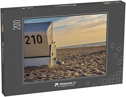 Puzzle 200 Teile Strandkorb mit Möwe auf Sylt Westerland, Deutschland - Klassische Puzzle, 1000 / 200 / 2000 Teile, edle Motiv-Schachtel, Fotopuzzle-Kollektion 'Deutschland 2'