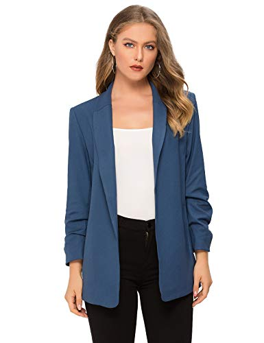 Escalier Women's Casual Work Office Blazer Open Front Long Sleeve Blazer Suit Navy Blue Small