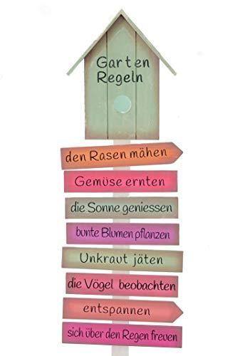 Spetebo Holzschild Gartenregeln mit Erdspieß - 103 cm - Holz Gartenstecker Garten Deko Schild Gartenstab