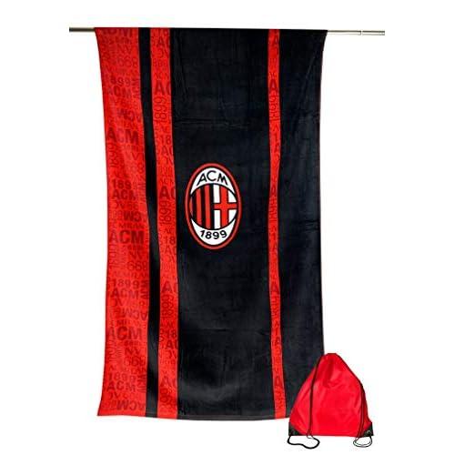 Tex family Telo Mare Sport Milan Misura Grande Cm. 90 X 170 Originale A.C. Milan con Zaino PORTATELO