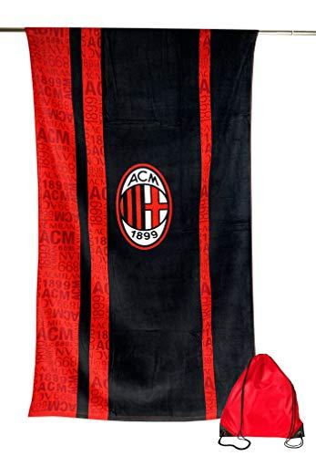 Tex family Serviette de plage Sport Milan de grande taille 90 x 170 cm original A.C. Milan avec sac à dos