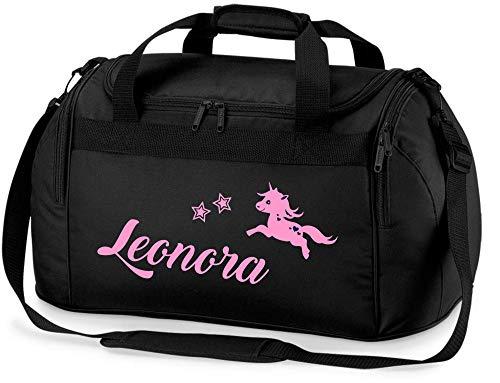 Sporttasche mit Namen | inkl. NAMENSDRUCK | Motiv springendes Einhorn & Sterne | Personalisieren & Bedrucken | Reisetasche Mädchen zum Umhängen in schwarz & pink