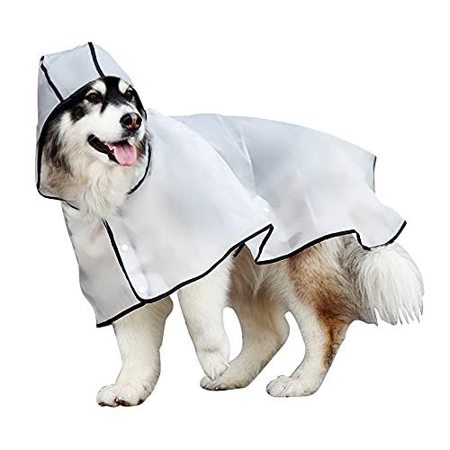 Uktunu Impermeable para Mascotas Chubasquero Transparente Perro Ropa para Mascotas Ajustable a Prueba de Agua Impermeable 100% Chaqueta para Lluvia medianos Perro de Raza Grande con Capucha 10XL