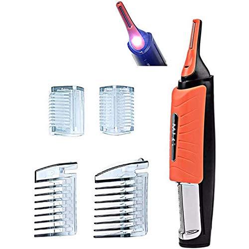 Herramienta de depilación de afeitado 2 en 1 con luz LED Bigote Maquinilla de afeitar eléctrica para cabello con afeitadora de Micro a todo el cuerpo para hombres y mujeres
