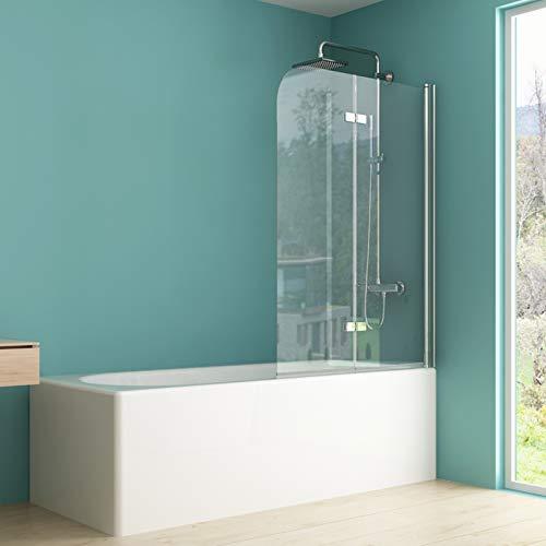 IMPTS Duschabtrennung 100x140cm, Duschwand Faltwand für Badewanne 2 TLG, Badewannenaufsatz mit 6mm Nano ESG Glas 180°Schwingen