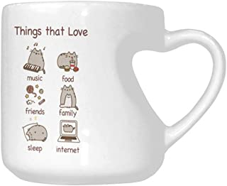 Christmas Cup Heart Shaped Mug My name is Pusheen Things that Love Coffee Cup Christmas Gift 10.3 oz PUHENEN Coffee Cup