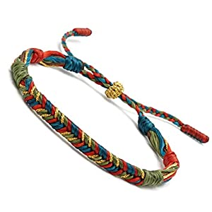 BENAVA Tibetisches Glücksarmband Stoffarmband Bunt   Boho Schmuck Tibet Armband für Damen und Herren   Freundschaftsarmband Bond Touch Armband   Verstellbar 16-24 cm