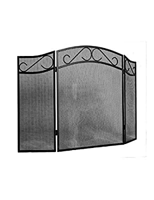 Fire Beauty Indoor Fireplace Screen 3 Panel Iron Fireplace Screen Outdoor Metal Decorative Mesh Cover Fireplace Panels Fire Spark Guard- Black(31in. x 51in.)… by Fire Beauty