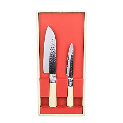 SekiRyu Japanese kitchen knife Set of 2 with hammered (tsuchime) finish