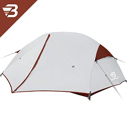 Bessport 3-4 Person Backpacking Tent Lightweight, Easy Setup 3 Season Camping Tent -Two Doors, Waterproof, Anti-UV Large Tent for Family, Outdoor, Hiking (3 Person-Burgundy)