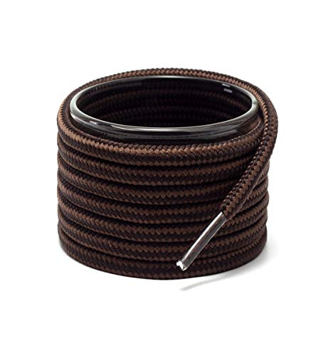 Shoemate Round Boot Shoelaces for Work Boots, Hiking Shoes and Walking Boots, Shoe Strings, Dark Brown/Tan, 42'(107cm) 17-ShenzongKa