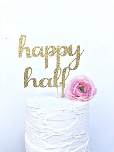 Happy Half Topper, 1/2 Verjaardag Glitter Cake Topper, Smash Cake, 6 Maand Verjaardag, Fotografie Prop, Sparkly Cake Topper, Halve Verjaardag