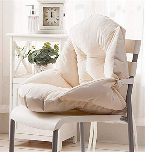 Marbeine - Cojín de silla suave con respaldo en forma de concha de terciopelo para silla de jardín y sillón, beige
