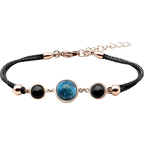 Bracelet Alliance Cabochon Apatite Onyx- Coupe Faim, confiance en Soi & Sérénité -LABISE Paris