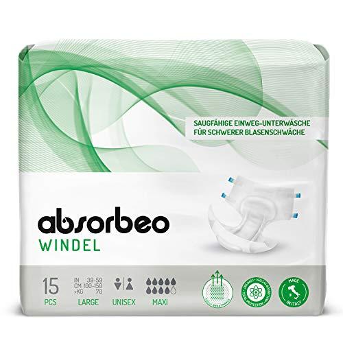Absorbeo - Windel Maxi – Saugfähige Einweg-Unterwäsche für Schwerer Blasenschwäche, Unisex, Größe L (15 Stück pro Packung)