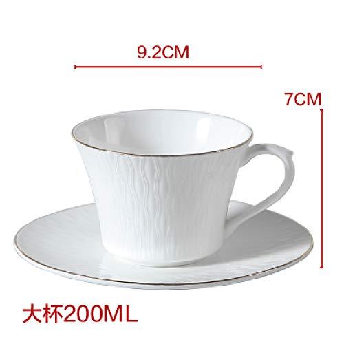 Keramik Kaffeetasse Set Haushalt Reinweißgold Wasser Tasse Blume Teekanne Nachmittagstee Porzellan Set Gold, Tasse und Untertasse 200ml
