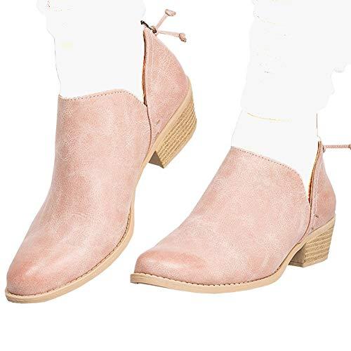 Poplover Damen Westernstiefel Cowboystiefel mit spitzem Zehenbereich, Reißverschluss, niedriger Absatz, Pink