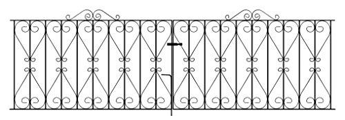Regent Scroll Driveway Gates 3048mm (10ft) GAP x 914mm High Galvanised Wrought Iron Metal gate...