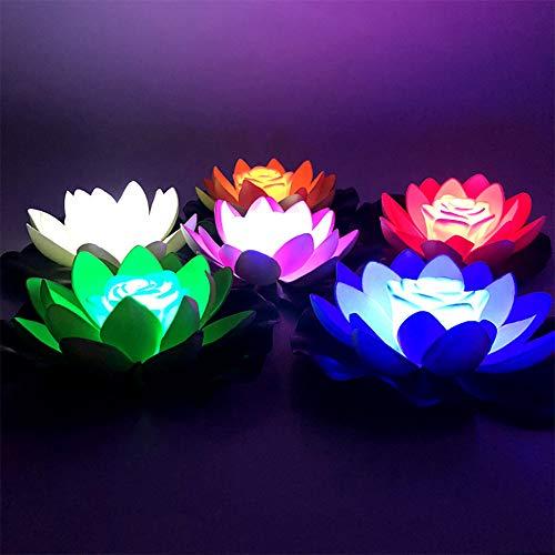 Wankd 1 Stück LED schwimmende Lotus Laterne Wishing Seerose künstliche Kerze Blume Laternen Pool Dekor für Festival Party (Grün)