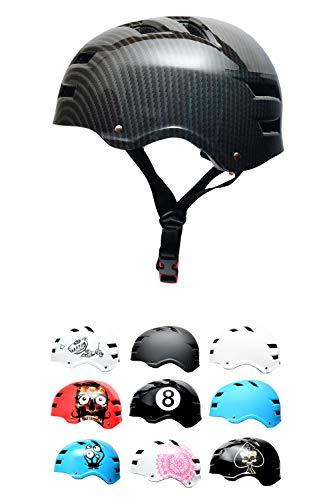 Skullcap® BMX & Skaterhelm - Fahrradhelm - Herren Damen Jungs & Kinderhelm, schwarz-grau, Gr. M (55-58 cm), Carbon