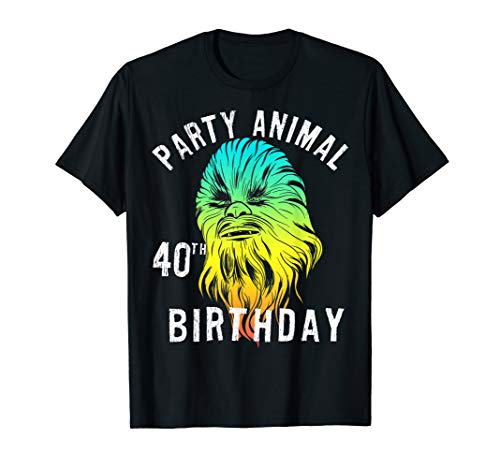 Star Wars Chewie Party Animal 40th Birthday Color Portrait T-Shirt