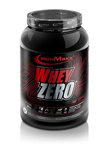 IronMaxx Whey Zero Protein - 908g Pulver - 18 Portionen - Erdbeere - Molkenprotein mit 97 % Whey Anteil - Zuckerfreies Protein Isolat für den Muskelaufbau - Desgined in Germany