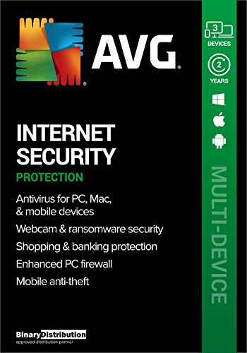 AVG Internet Security 2021, 3 Devices 2 Years, AntiVirus+Firewall+Protection+Privacy, [PC/Mac/Android] [Licence]