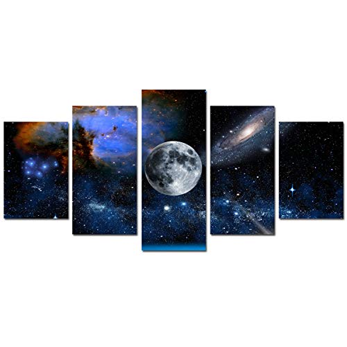 Canvas Wall Art Moon Painting - Modern Artwork Blue and White Outspace...