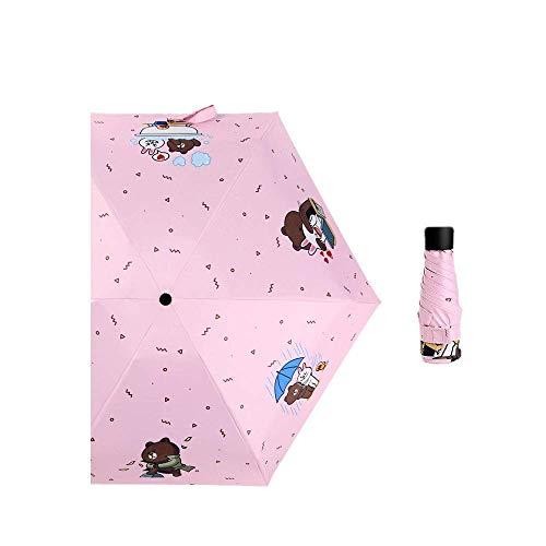 DZNOY Folding Umbrellas Impact Cloth Sun protection Ultra-Light Five Fold Rain and Sunshine Sunshade Umbrella umbrella (Color : Pink)