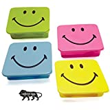 Shri Ashtavinayak Smiley Faced Square Tiffin Box for Kids with Spoon and Fork
