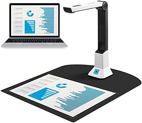 ETE ETMATE Scanner portable haute définition 8 millions de pixels, caméra de documents, fonction d'enregistrement vidéo en temps réel, scanner de reconnaissance de documents format A4