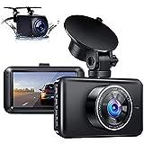 Dashcam Delantera y Trasera, cámara Dual para Coche, Pantalla IPS de 3 Pulgadas, Gran Angular de 170 °, visión Nocturna WDR y Apertura F1.8, grabación en Bucle, Monitor de estacionamiento y Sensor G