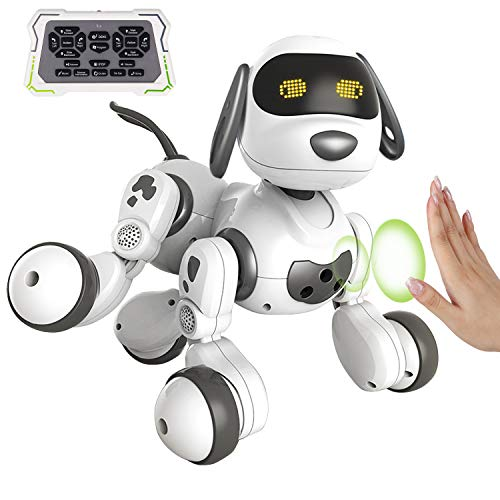 Feltom Remote Control Robot Dog, Robot Toys for Kids Programmable RC Robot with Gesture Sensing, Electronic Pets with LED Eyes, Walking,Dancing,Talking,Singing,Interactive Gift for Boys Girls