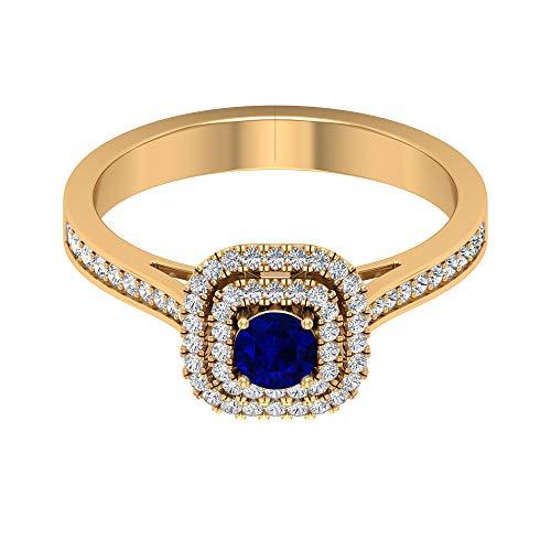 Anillo solitario de zafiro azul de 0,34 quilates, anillo doble halo de diamante HI-SI de 1/2 quilates, anillo vintage de oro (4 mm de zafiro azul con forma redonda), 14K Oro amarillo, Size:EU 49