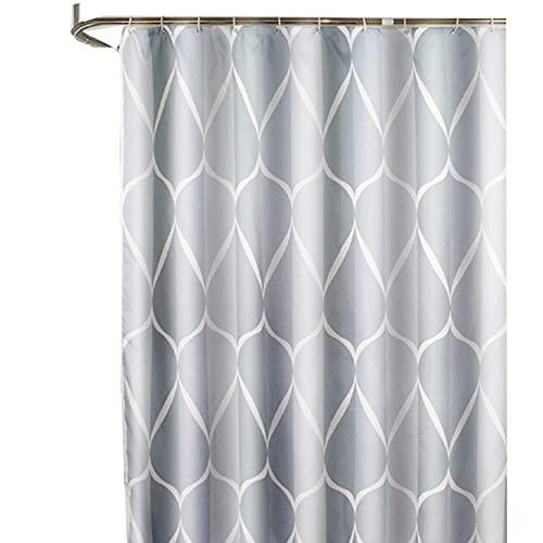 WEDSFC L Shaped Curved Shower Curtain Rod No Drilling for Bathroom Bathtub Corner Adjustable Extendable Bath Curtain Rail Bar Pole PPGE Home,Checkered1b.180180cm