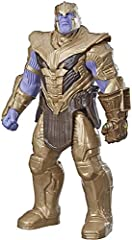 12-Inch-scale Thanos figure with movie-inspired design Connect Titan hero power FX pack to activate sounds & phrases (not included; sold separately with Titan hero power FX figures) Includes Titan hero power FX connection port Inspired by the Avenger...
