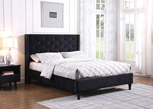 "Home Life Black Premiere Classic Velour 51"" Tall Headboard Platform Slats Full-Complete Bed 5 Year Warranty 007"