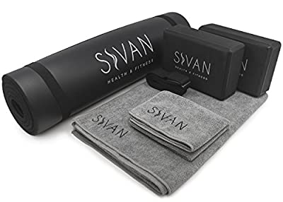 Sivan Health and Fitness Yoga Set 6-Piece– Includes 1/2 Ultra Thick NBR Exercise Mat, 2 Yoga Blocks, 1 Yoga Mat Towel, 1 Yoga Hand Towel and a Yoga Strap