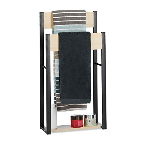 Relaxdays Handtuchhalter stehend, U-Design, 2 Ablagen, Handtuchständer Bad, HxBxT: 86 x 45 x 19 cm, Holz + Stahl, natur