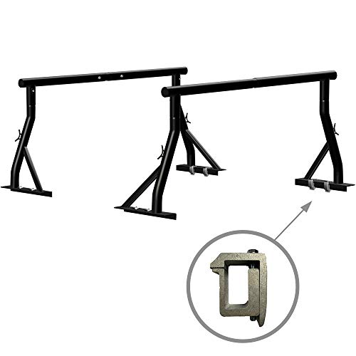 Truck Ladder Rack 800lbs Capacity with (8) Non-Drilling C-Clamps Heavy Duty Extendable Universal Pickup Truck Rack Two-bar Set Matte Black One Pair