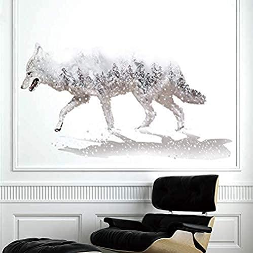 Etiqueta de la pared del lobo de la nieve blanca Material de PVC DIY DIY Mural Decoraciones para la sala de estar Decoración del dormitorio 110 * 62cm