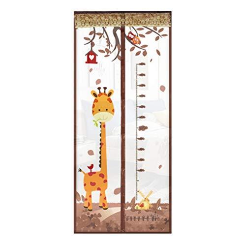 KeKeandYaoYao Giraffe Hoogtekaart Zomer Magnetisch Scherm Raamdeur Anti Muggengordijn - Koffie 100 * 210cm