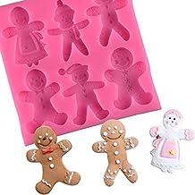 YUEKUN Moules en silicone de Noël en forme de bonhomme en pain d'épices - Moule à glaçons anti-adhésif pour décoration de ...