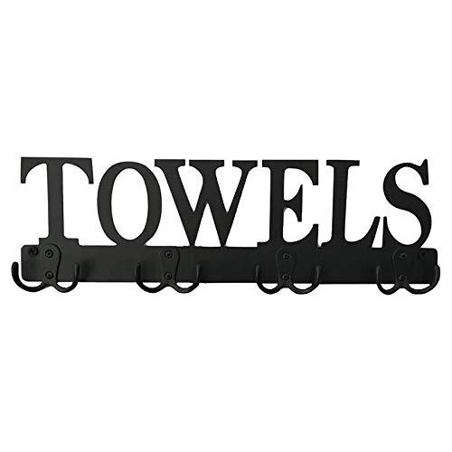 GJCrafts Toallero montado en la pared, 8 ganchos para toallas de pared, impermeable y resistente al óxido, soporte para almacenamiento de cocina de baño