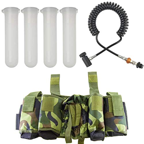 SciencePurchase Paintball Accessory Bundle - Includes Harness, 4 Clear Paintball Pods, and Remote Line with Slide Check
